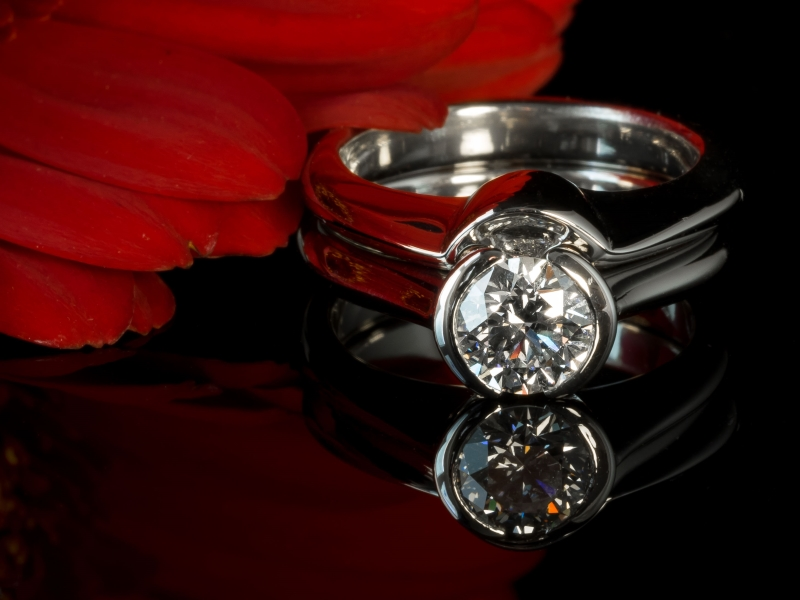 Platinum diamond engagement and wedding ring.